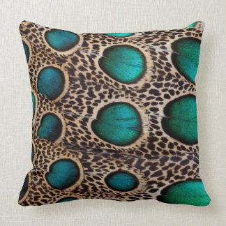 Teal Spotted pheasant feather Throw Pillow