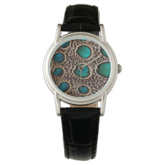 Teal Spotted pheasant feather Wristwatches