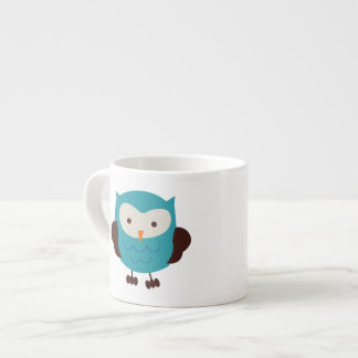 Teal Spring Owl Espresso Cup