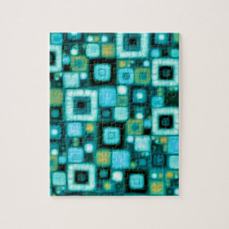 Teal Squares Pattern Jigsaw Puzzle