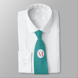 Teal Squiggly Squares and Initial on White Circle Tie