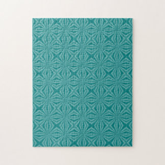 Teal Squiggly Squares Jigsaw Puzzle