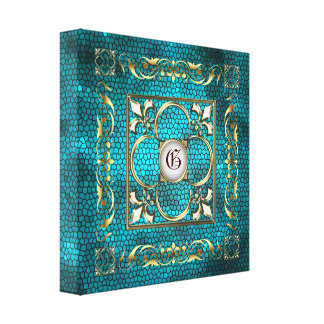 Teal Stained Glass Monogram Fleur De Lis Canvas Gallery Wrapped Canvas