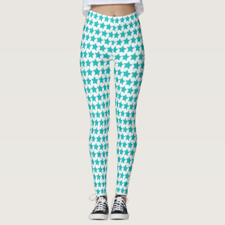 Teal star patterned leggings