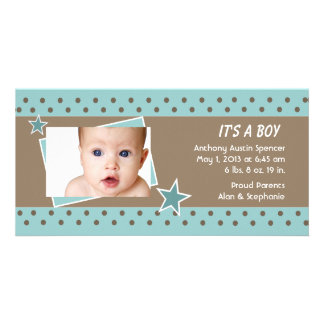 Teal Star Photo Birth Announcement Photo Card Template