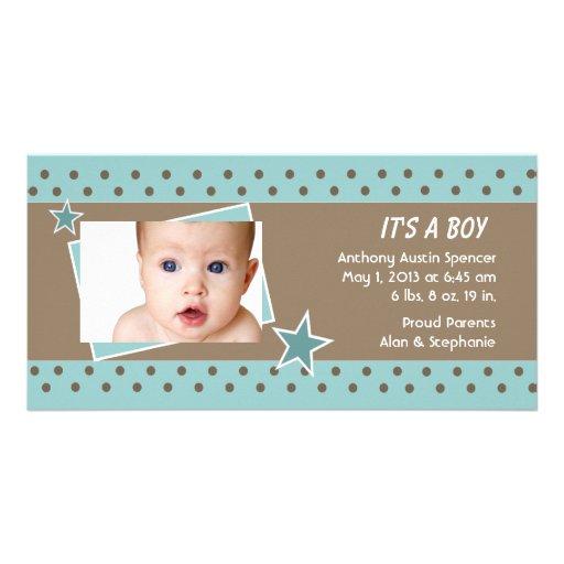 Teal Star Photo Birth Announcement Customized Photo Card