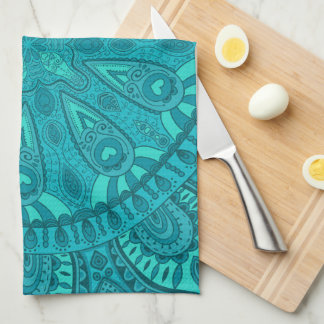 Teal Starburst Design Kitchen Towel