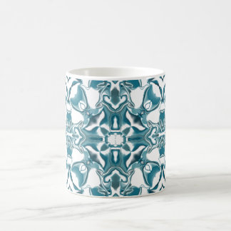 Teal Starburst Kaleidoscope Pattern Coffee Mug