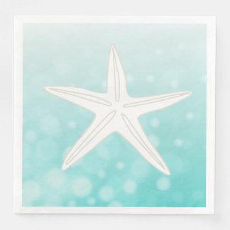 Teal Starfish Beach Themed Wedding Napkins
