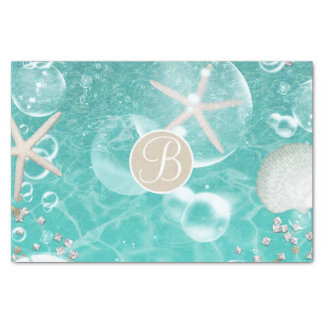 Teal Starfish & Bubbles Beach Monogram Initial Tissue Paper