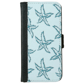 Teal Starfish iPhone 6 Wallet Case
