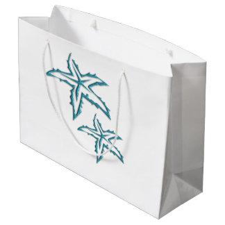 Teal Starfish Large Gift Bag