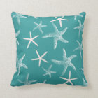 Teal Starfish Pattern Throw Pillow