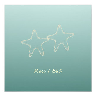 Teal Starfish Wedding  Invitations