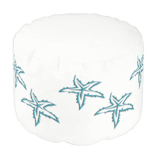 Teal Starfish White Ottoman