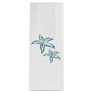 Teal Starfish Wine Gift Bag