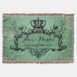 Teal Stars Personalized Wedding Royal Crown Throw