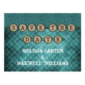 Teal Steampunk Keys Save the Date Postcard