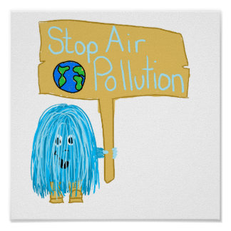 Teal stop air pollution poster