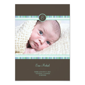"Teal Stripe Baby Announcement 5"" X 7"" Invitation Card"