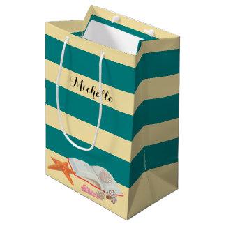 Teal  Stripe & Seashells Personalized Gift Bag