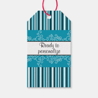 Teal Stripes and Curls Gift Tags