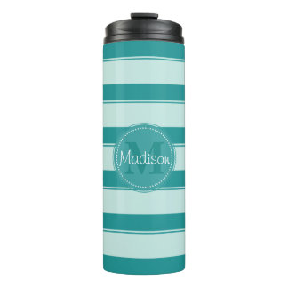 Teal Stripes-Change Background Color for New Look Thermal Tumbler