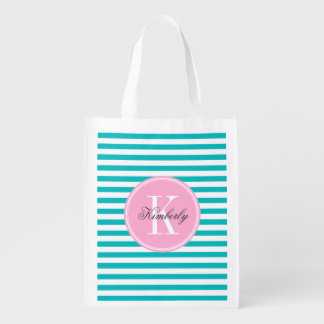 Teal Stripes with Bubblegum Pink Monogram Reusable Grocery Bag