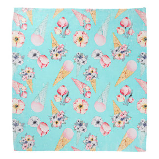 Teal Summer Fun Flower Ice Cream Cone - Pattern Bandana