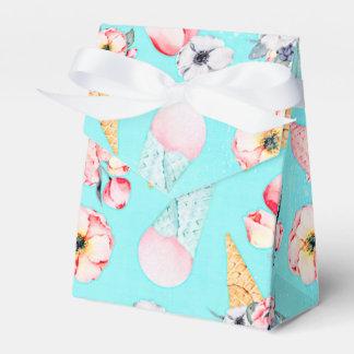 Teal Summer Fun Flower Ice Cream Cone - Pattern Favor Box