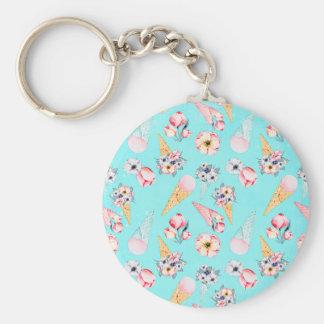 Teal Summer Fun Flower Ice Cream Cone - Pattern Keychain
