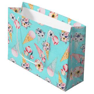 Teal Summer Fun Flower Ice Cream Cone - Pattern Large Gift Bag