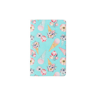 Teal Summer Fun Flower Ice Cream Cone - Pattern Pocket Moleskine Notebook