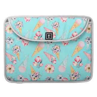 Teal Summer Fun Flower Ice Cream Cone - Pattern Sleeve For MacBook Pro