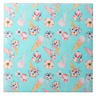 Teal Summer Fun Flower Ice Cream Cone - Pattern Tile