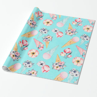 Teal Summer Fun Flower Ice Cream Cone - Pattern Wrapping Paper