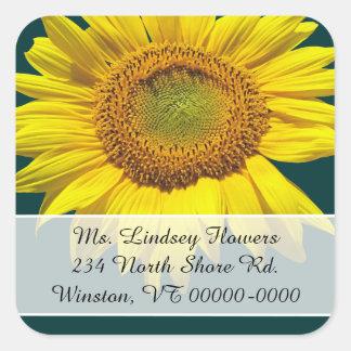 Teal Sunflower Return Address Stickers