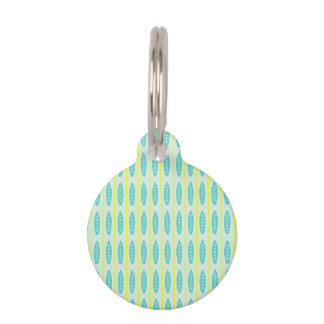 Teal Surfboards Pattern Pet Nametags