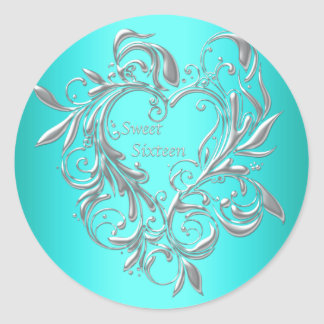 Teal Sweet Sixteen Stickers Labels 16th