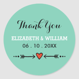 Teal Sweethearts Arrows Wedding Thank You Sticker