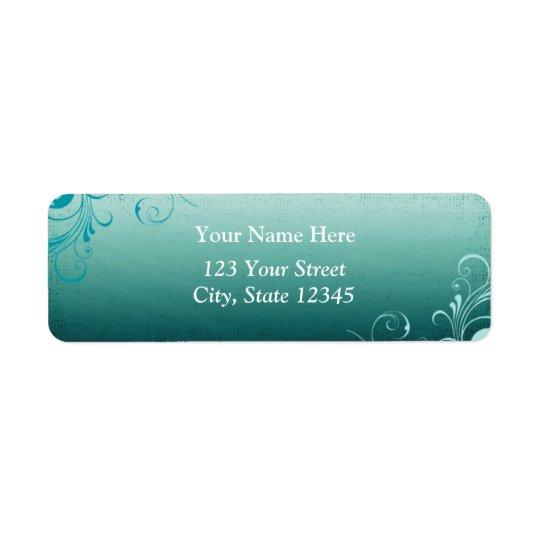 Teal Swirl Address Label