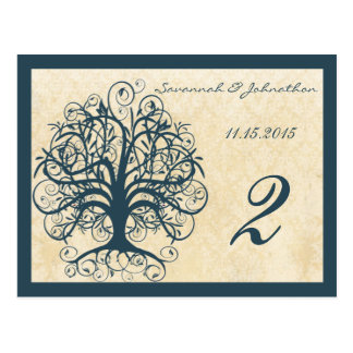 Teal Swirl Tree Table Number Cards