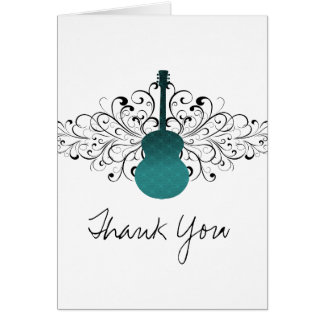 Teal Swirls Guitar Thank You Card