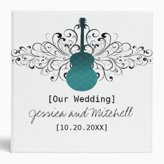 Teal Swirls Guitar Wedding Binder