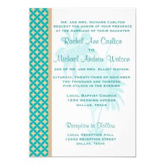 Teal & Tan Khaki Beach Wedding Invitations