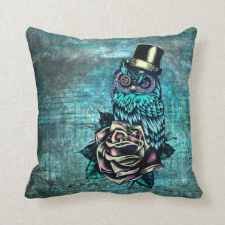 Teal tattoo style sugar skull owl with hat pillow