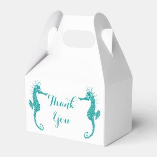 Teal Thank You Seahorse Wedding Party Beach Party Favor Boxes