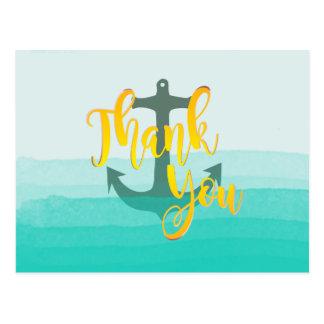 Teal Thank You  Watercolor Beach Nautical Anchor Postcard