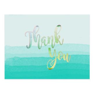 Teal Thank You  Watercolor Beach Postcard