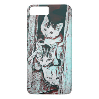 Teal Three Little Kittens Peeking Out Phone Case